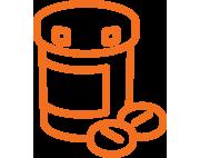 Orange icon of a prescription bottle