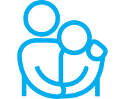 Blue icon of two people embracing