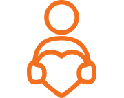 Orange icon of a person holding a heart