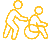Yellow icon of a person assisting another person in a wheelchair