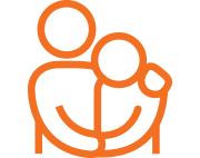 Orange outline of two people embracing